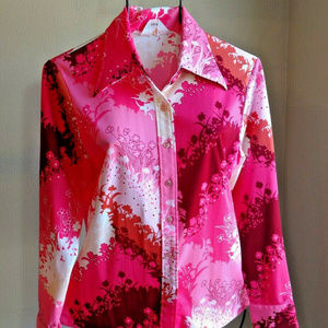 Psychedelic Pink 70s Vintage Button Front Shirt